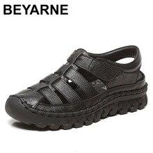 BEYARNE Xiuteng מותג אישה בעבודת יד פרחוני עור אמיתי סנדלי נשים דירות לנשים שטוח עם נעלי גבירותיי קיץ נעליים