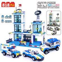 818 قطعة مركز شرطة المدينة SWAT سيارة اللبنات متوافق مدينة الشرطة الطوب بنين أصدقاء لعب للأطفال هدايا
