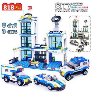 Image 1 - 818Pcs Stad Politie Station Swat Auto Bouwstenen Compatibel Stad Politie Bricks Jongens Vrienden Speelgoed Voor Kinderen Geschenken