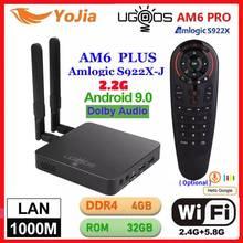 Тв приставка UGOOS AM6 Plus, Android 9,0, Amlogic S922X, AM6 Pro, 4K, медиаплеер DDR4, 4 гб озу, 32 гб пзу, 2,4 дюйма/телефон, wi fi, 1000 м, LAN, BT, 2G16G, OTA