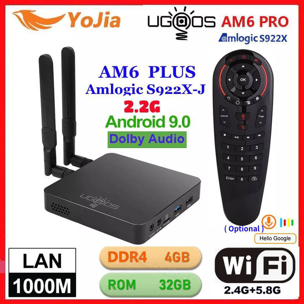 UGOOS AM6 Plus TV BOX Android 9.0 Amlogic S922X AM6 Pro 4K Media Player DDR4 4GB RAM 32GB ROM 2.4/5G WiFi 1000M LAN BT 2G16G OTA
