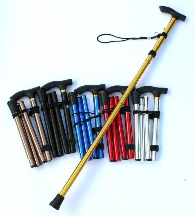Walking Stick Hiking Trekking Trail Ultralight 4-section Adjustable Canes Aluminum Alloy Folding Cane Walking Sticks