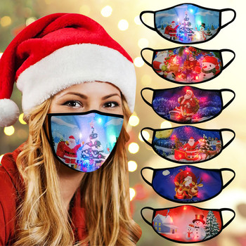 LED Christmas Mouth Masks Adult Santa Claus Snowman print Christmas Lights Glowing Face mask Mascarillas Masque Facial Masks New image