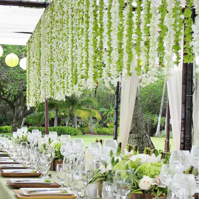 1m Colorful Artificial Silk Flower White Wisteria Flowers Hanging
