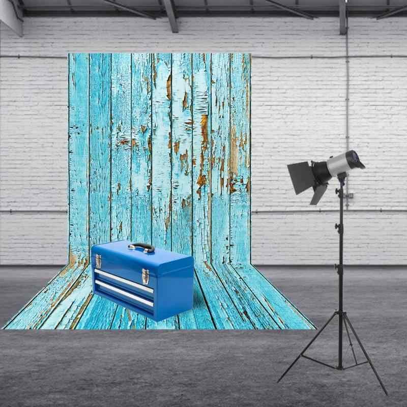 60*90cm rétro bleu planche de bois photographie fond Art tissu Photo Studio vidéo Table photographique toile de fond pour la nourriture