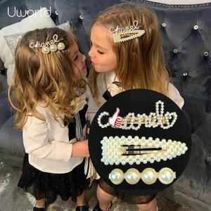Hair-Accessories Clips Pearl-Headpiece Crystal Rhinestoneletter Bling 3pcs-Set Kids Girls