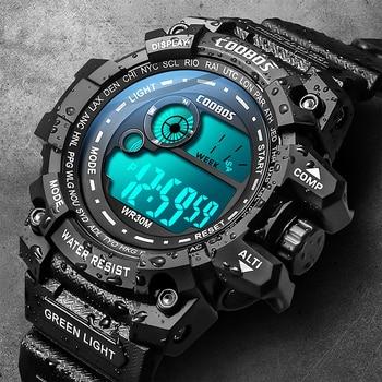 Cool Luminous Men Sport Watch High-end Silicone Strap Military Wrist Watch Led Calendar Waterproof Digital Watch reloj de hombre