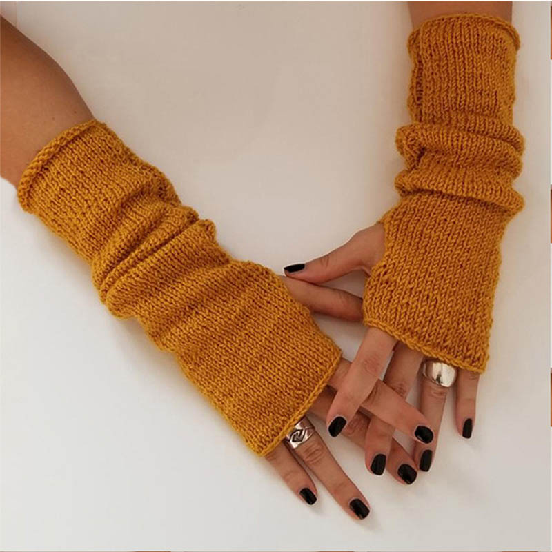 Autumn Winter Fashion Knitted Arm Warmers Gloves For Women Men Long Fingerless Mittens Solid Wrist Gloves For Lady Girls