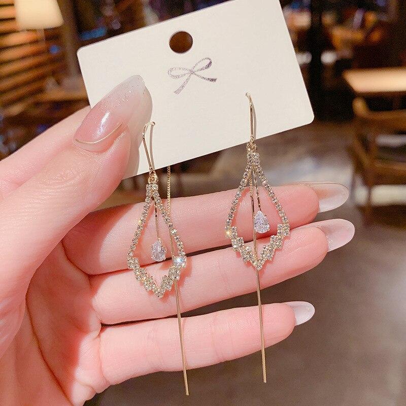 2021 модные новые роскошные геометрические серьги-подвески с кристаллами и бриллиантами Висячие золотые серьги для женщин цветные серьги дл...