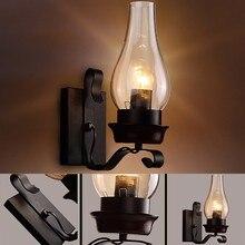 Candelabro de Metal de estilo nórdico E27 Vintage Retro desván Industrial arte hierro brillante hogar LED luz restaurante cafetería lámpara de pared