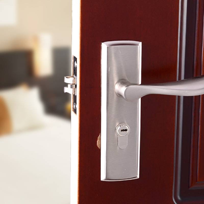 Indoor Wooden Door Lock Single Tongue Bedroom Door Lock Handle Lock Single Tongue Anti-Theft Toilet Mechanical Door Lock Silver