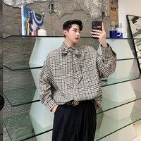 Streetwear Hip Hop Party Dress Shirts Autumn Check Gingham Men Oversize Long Sleeve Bow Tie Collar Loose Casual Plaid Shirt Men