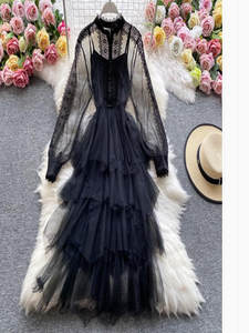 Sexy Dress Outwear Flower Vestidos Hollow Sweet Solid Chain-Link Stitching Mesh Collect-Waist