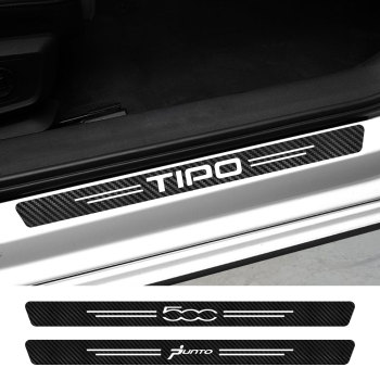 HHF Stickers Car Tuning Accessories Car Door Sill Scuff Plate Stickers Threshold Protector Decals For Punto 500 Panda Abarth Tipo Color Name : 500