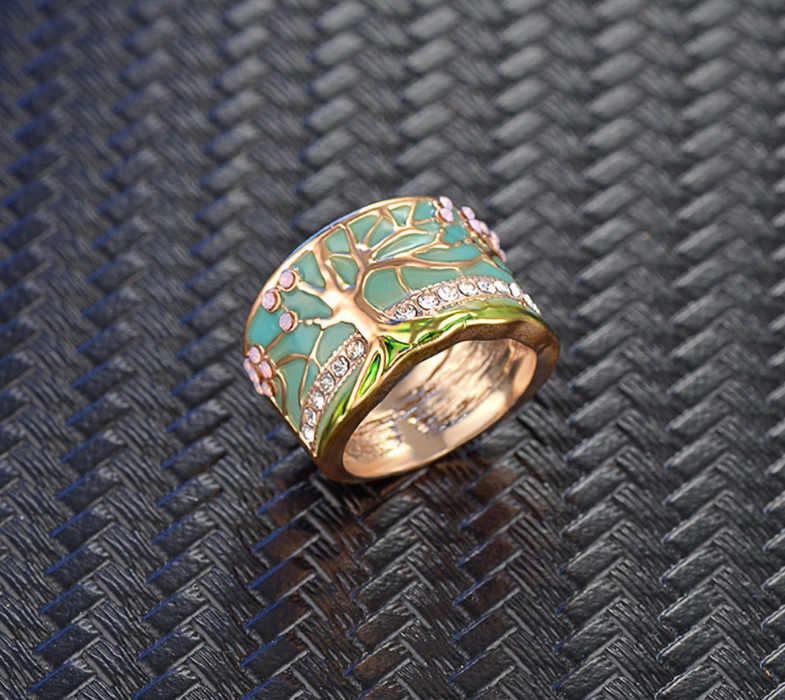 Hot Lucky Bunga Pohon Cincin Fashion Merah Muda Emas Opal Green Enamel Lebar Cincin untuk Wanita Pesta Crystal Vintage Perhiasan 2019 baru