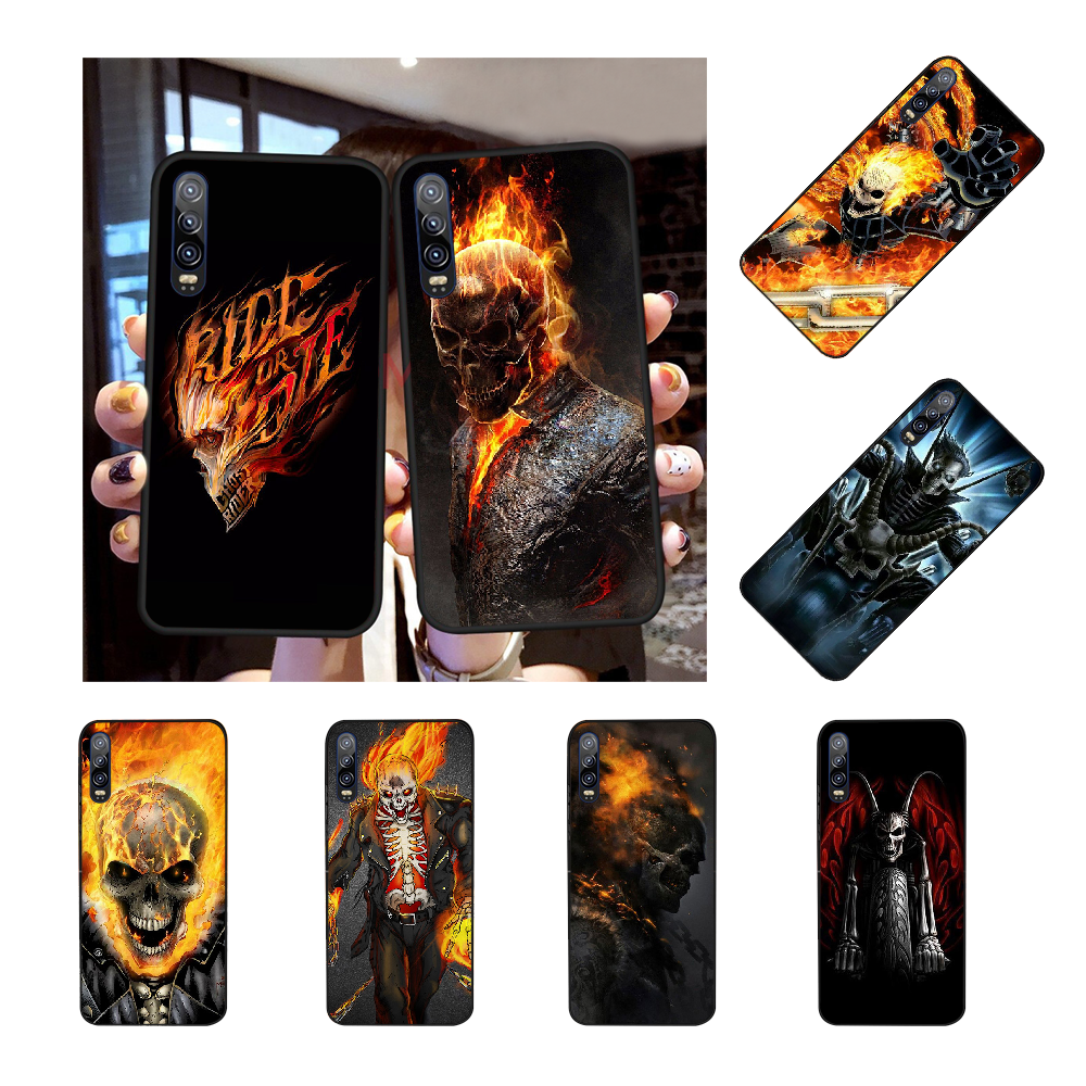 NBDRUICAI Skull Biker Demon <font><b>Ghost</b></font> Rider Black Soft <font><b>Shell</b></font> Phone <font><b>Case</b></font> Capa For Huawei NOVA 2 PLUS 2s 2i 3i 3E 4E 5 5I PRO image
