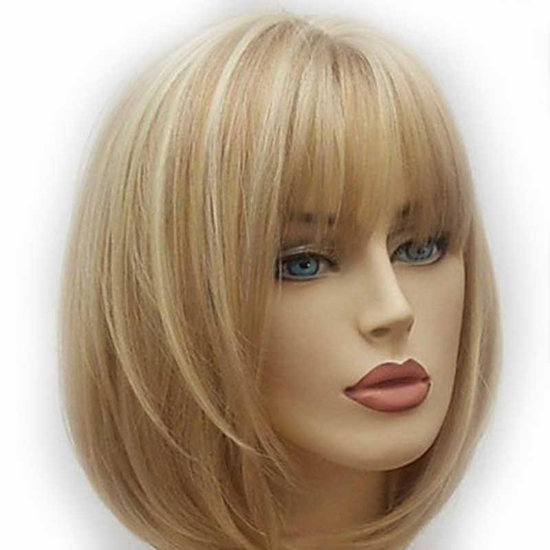 HAIRJOY kadınlar kısa düz sentetik peruk sarışın kahverengi karışık peruk ücretsiz kargo 4 renk mevcut