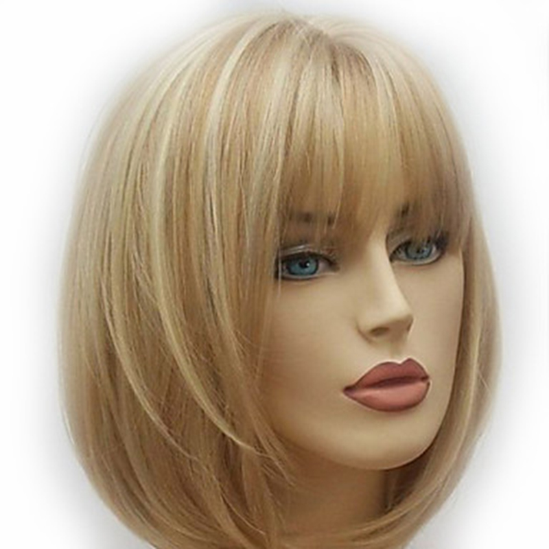 Hairjoy Peruca Curta Sintética Mulheres Loira Castanho Misturado Frete Grátis 4 Cores Disponíveis