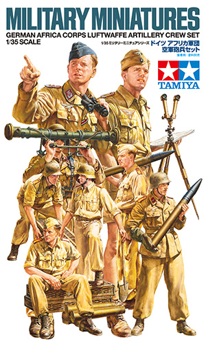 Tamiya 35343 1/35 Scale WWII German Africa Corps Luftwaffe Artillery Crew Set Figure Toy Plastic Assembly Building Model Kit