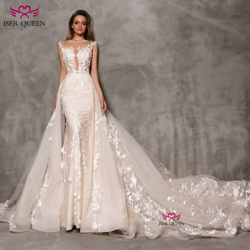 O-neck Sleeveless Appliques Embroidery Detachable Tail Wedding Dress Sexy Backless Champagne 2 IN 1 Wedding Gown W0646