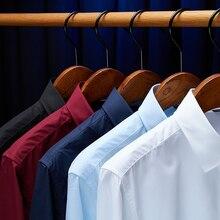 メンズフォーマルなシャツ2020ブランドオフィス男性のシャツ高品質無地長袖シャツ白黒camisasカジュアル シャツ
