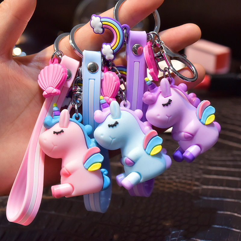Creative Fly Unicorn Girl And Boy Design Fashion Animal Young People Color Keyring High Quality Girl Student Multicolor Keychain