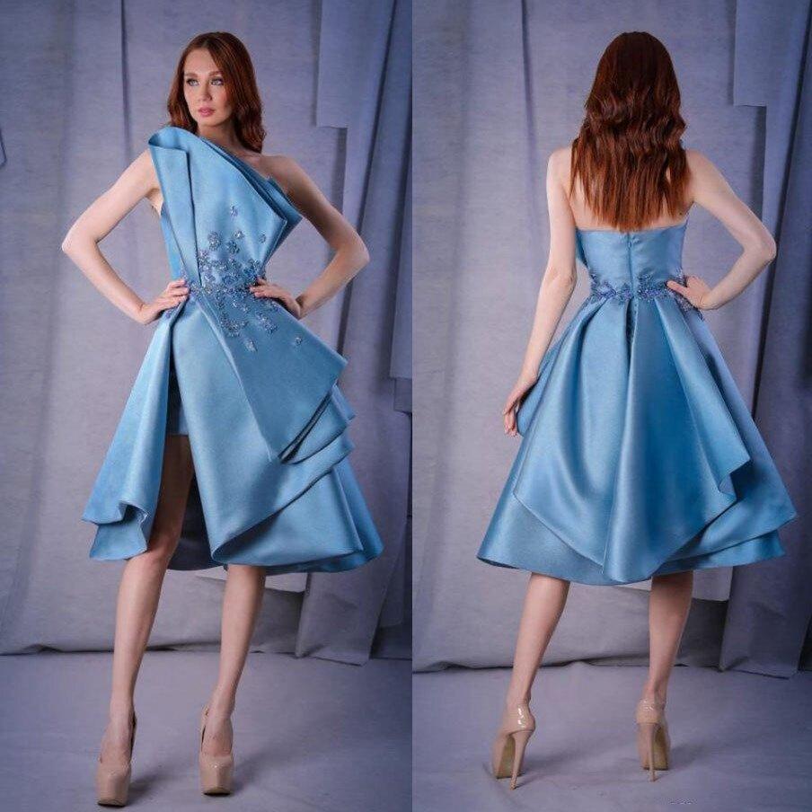 2019 bleu court robes de bal sans bretelles dentelle Applique perlée côté fendu robe formelle sur mesure au genou longueur Cocktail robes de soirée