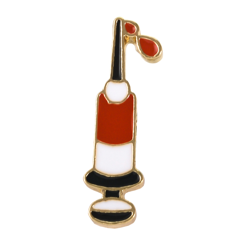 Syringe Enamel Pins drawing blood Brooches Custom Bag Clothes Lapel Pin Badges Medical Jewelry Gift Hematology Doctor