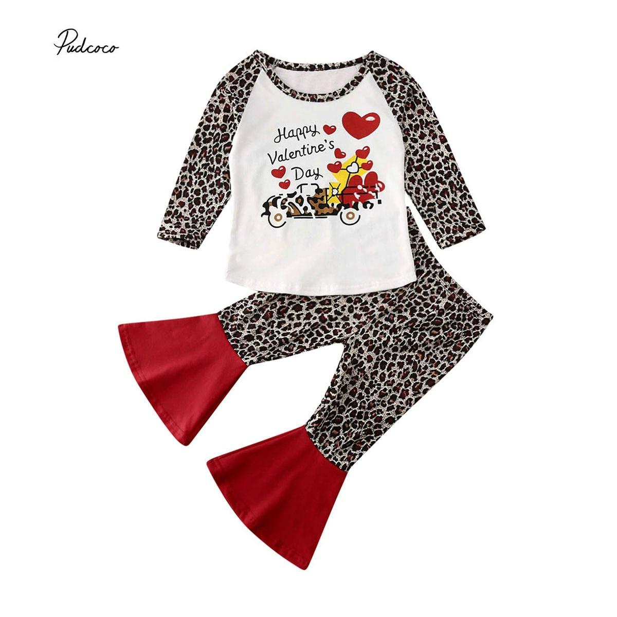 Newborn Toddler Baby Girl Tops T shirt Leopard Pants Headband Outfit Clothes Set