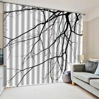 Personalizado breve 3d ramo cortina cortinas blackout preto e branco para sala de estar quarto