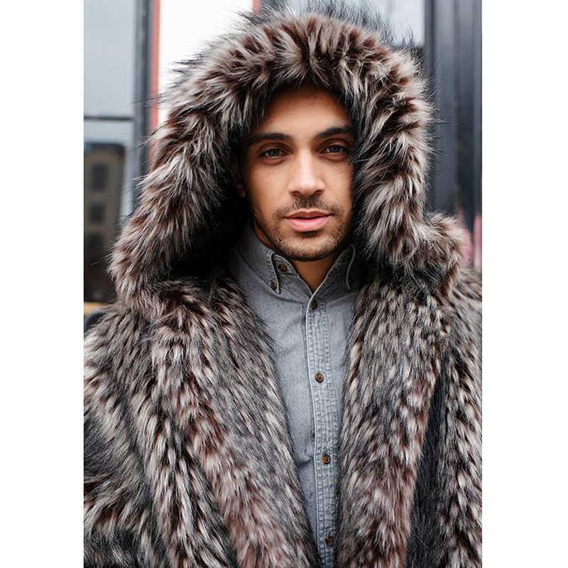 CP зима с капюшоном Искусственный мех енота пальто Мужская мода покрытая пуговица мужская повседневная с длинным рукавом толстое пальто мужской джентльмен CPM04