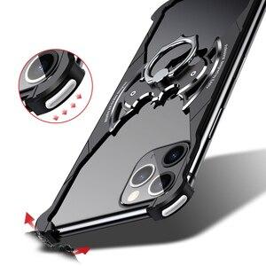 Image 5 - מקרה עבור iPhone 11 11 פרו 11 פרו מקס מתכת אנטי סתיו פגוש כיסוי בת צורת מתכת כרית אוויר מקרה עם טבעת מחזיק