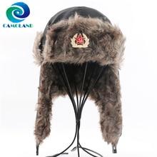CAMOLAND Military Army Soviet Badge Winter Bomber Hat Women Men Russian Ushanka Hat Faux Fur Earflap Caps Waterproof Snow Cap