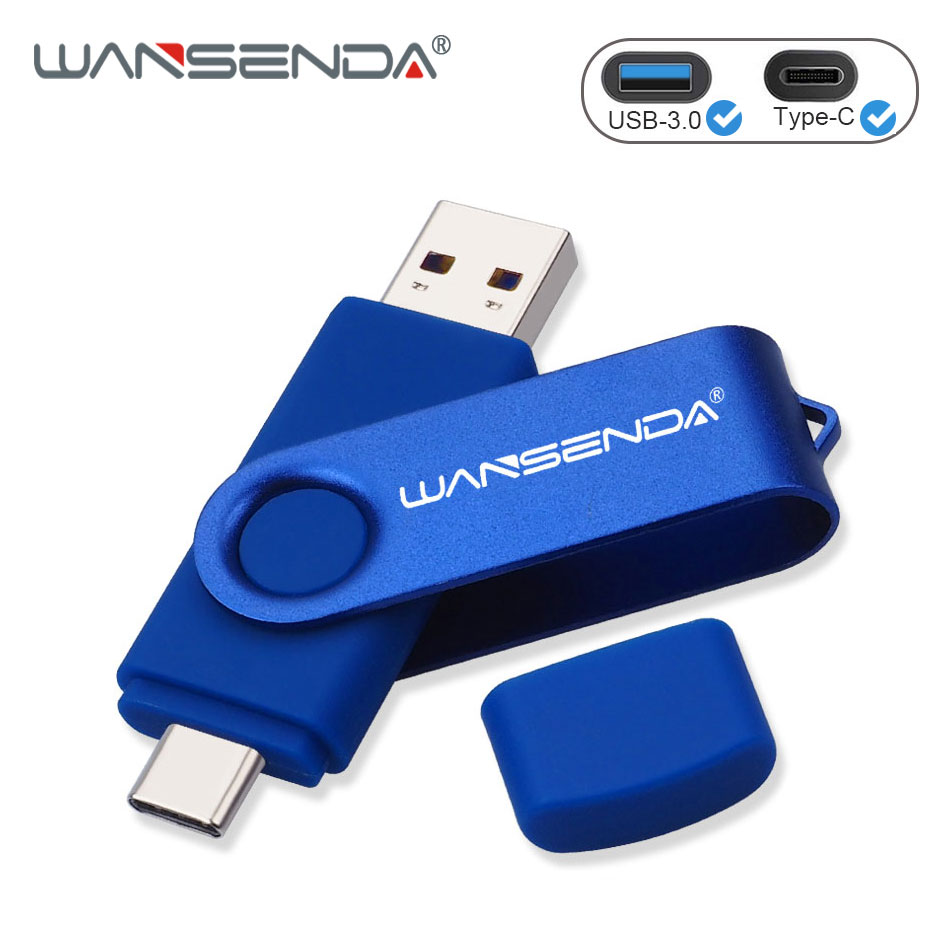 WANSENDA TYPE C USB флеш-накопитель USB 3,0 OTG флеш-накопитель 512 ГБ 256 ГБ 128 Гб 64 ГБ 32 ГБ 16 ГБ высокоскоростная USB флешка 3,0 2 в 1 флешка