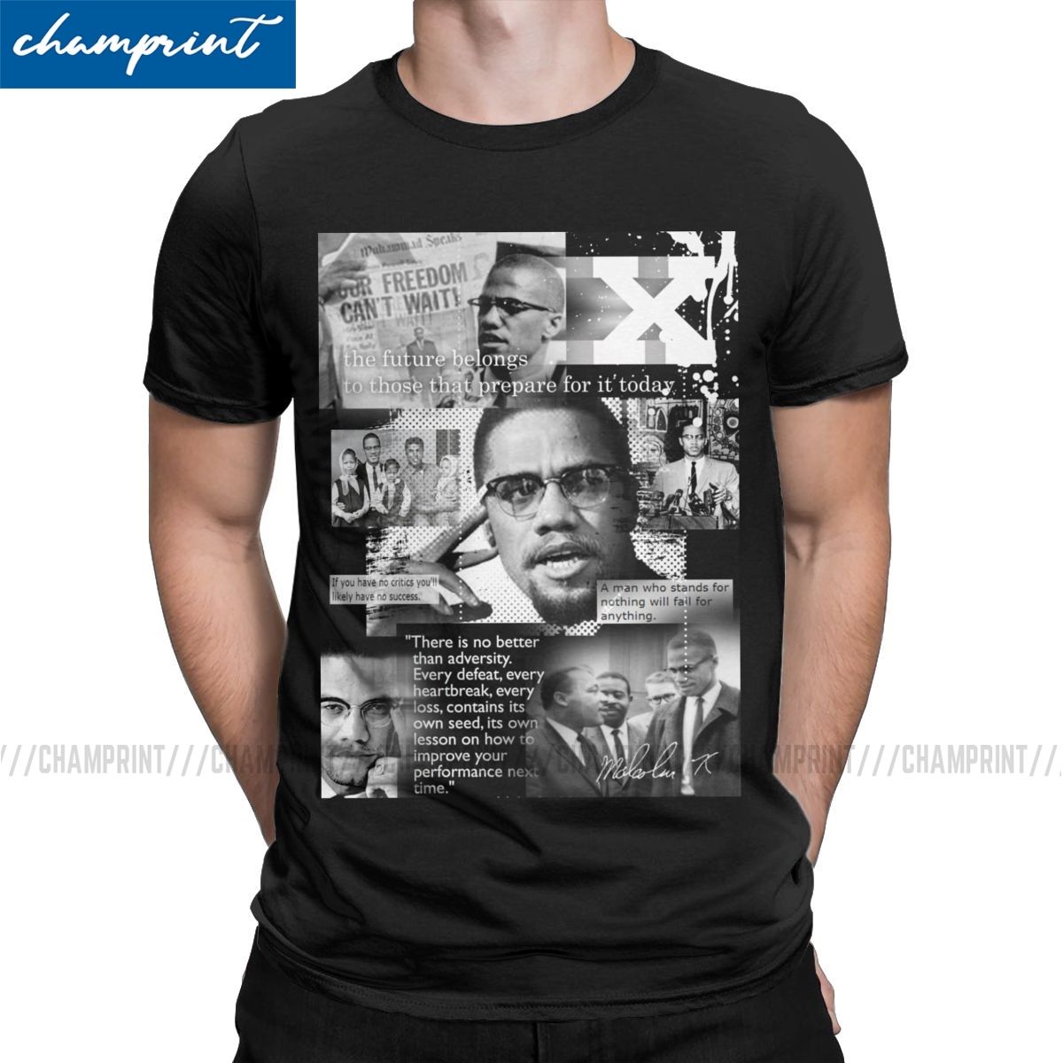 Men Black Rights African <font><b>Malcolm</b></font> <font><b>X</b></font> <font><b>T</b></font> <font><b>Shirt</b></font> 100% Cotton Clothing Hipster Short Sleeve Round Collar Tees Classic <font><b>T</b></font>-<font><b>Shirt</b></font> image
