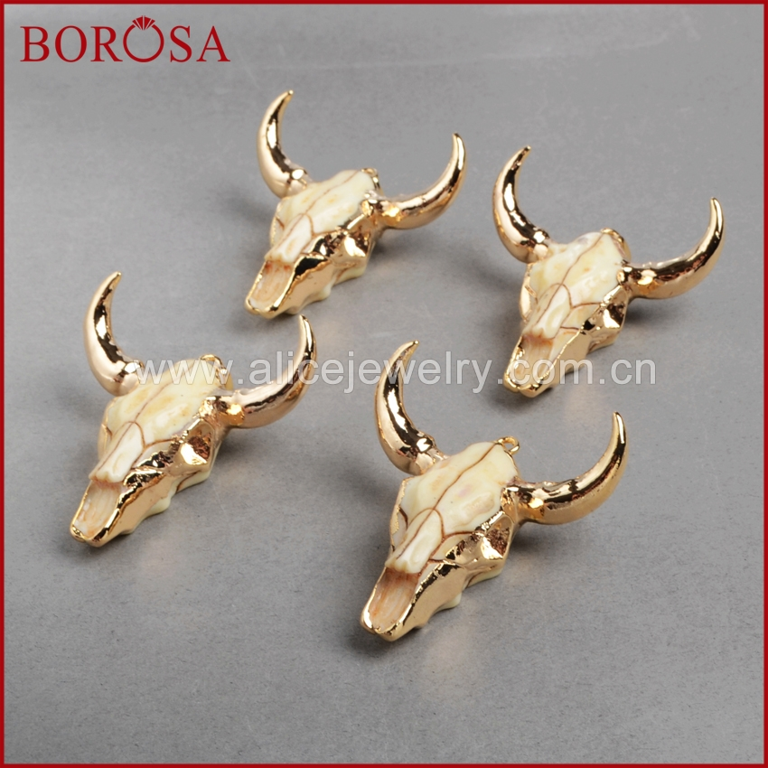 BOROSA Fashion Buffalo Head Pendants Gold Color Bull Cattle <font><b>Charm</b></font> Bead <font><b>Longhorn</b></font> Resin Horn Cattle Pendant for Necklace G0842 image