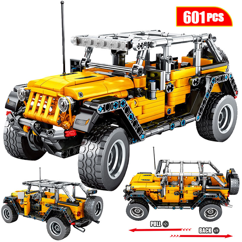 601pcs Creator Mechanical Pull Back Jeeped Off-road Vehicle Building Blocks For Legoinglys City Technic Car Bricks Toys For Boys