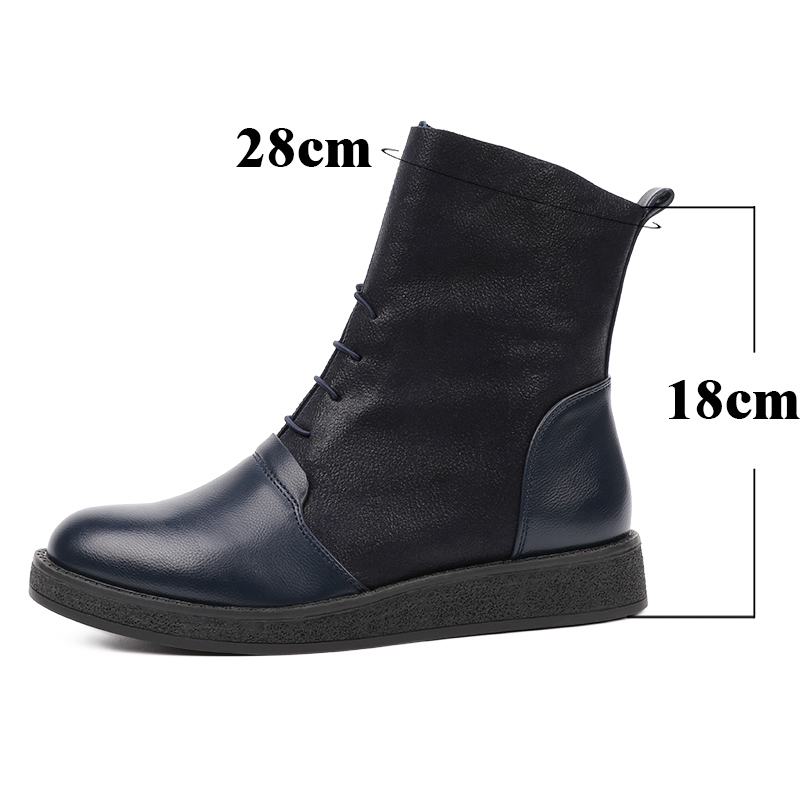 AIMEIGAO New Spring Autumn Women Boots Platform Ankle Boots Women Lace Up Casual Boots Fashion Soft Leather Women Shoes 2018