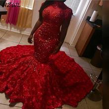 2k20 красное платье для выпускного вечера с русалочкой Длинные