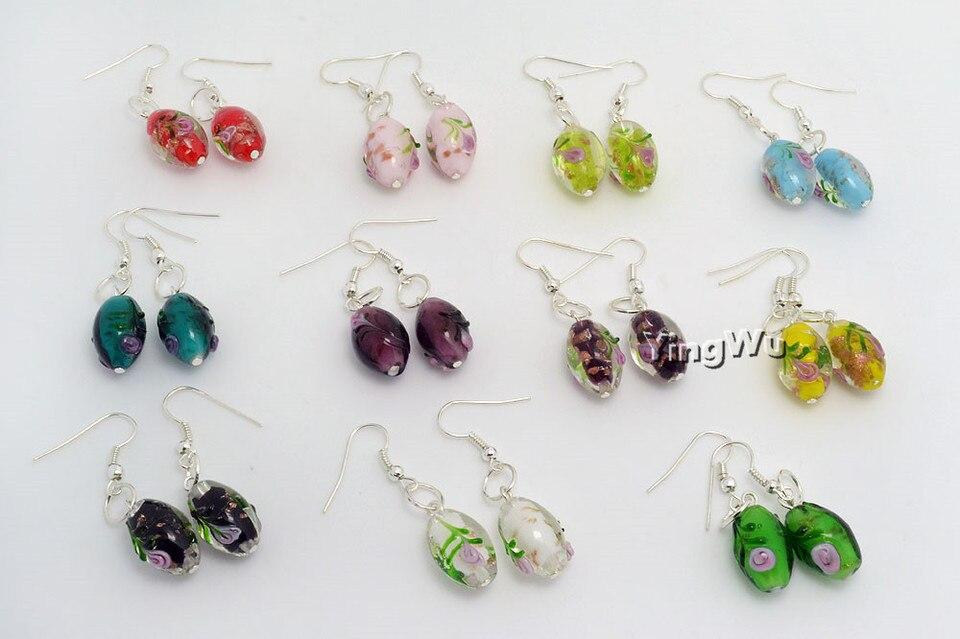 Fuchsia pink crystal lampwork drop pair