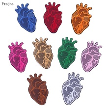 Prajna 9 Colors Heart Patches Iron On For Clothes Stripe Embroidered Clothing Badges DIY Applique