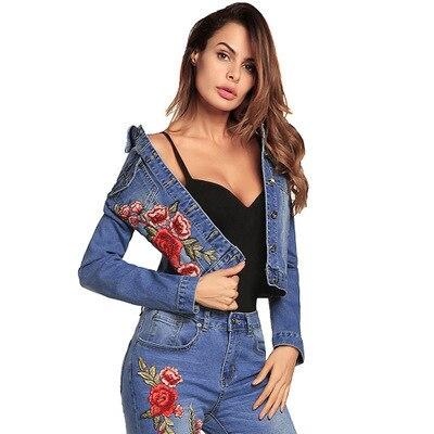 Autumn Spring Women Short   Jackets   2020 New Fashion Embroidery Denim   Jacket   Femmen Vintage Jeans Casual   Basic   Coat LX1625