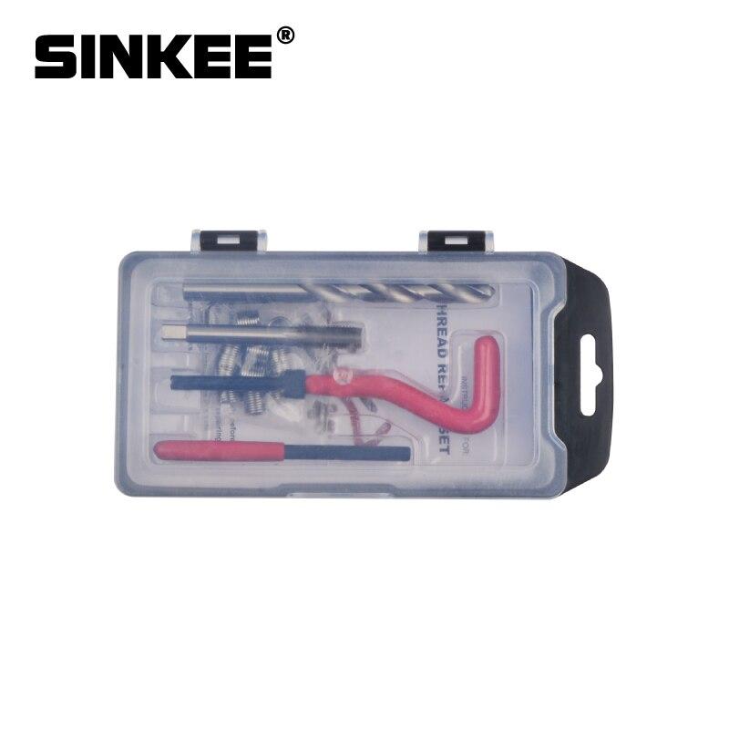 6 tipos de inserções de rosca recoil kit de instalação ferramenta reparo broca torneira m7 m9 m12 m14 sk1051