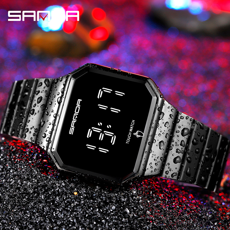 Creative Fashion Clock LED Touch Screen Watches Digital Watch Men Fashion Simple Alloy Band Electronic Wristwatches Reloj Montre 5