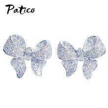 Novo elegante 925 prata esterlina grande bowknot laço brincos para mulher acessórios zircon jóias requintado presente