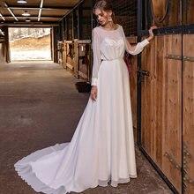 Шифоновое пляжное свадебное платье в стиле бохо с длинными рукавами