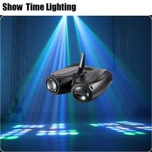 Dj LED de doble cabeza aeronave Luz de flores y Luna entretenimiento en casa DJ iluminación para fiesta discoteca trabajo de sonido caja de cartón bloque de construcción