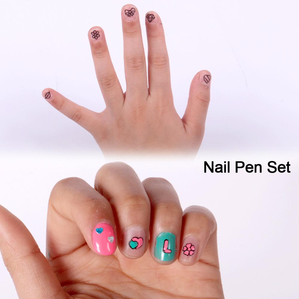 Children's Nail Pen Set Makeup Toy Nail Polish Manicure Hand Painted Pattern Beauty Makeup Toy Girl Birthday Gift