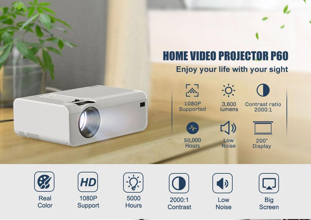 Salange HD Mini Projector P60 3600 Lumens 720P LED Movie Video Beamer Home Theater Support 1080P Optional Android WIFI Bluetooth
