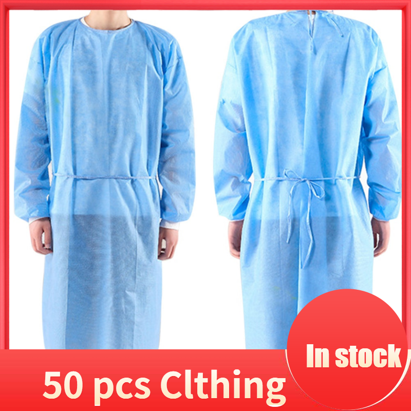 50pcs/set Disposable Isolation Clothes Non-woven Dust-proof Security Protection Suit Surgical Suit Isolation Gown Blouse